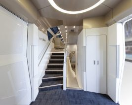 stairs to upper deck in Aeroliner3000 with OLED lighting panels