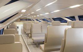 interior of Aeroliner3000 with rectangular OLED lighting panels