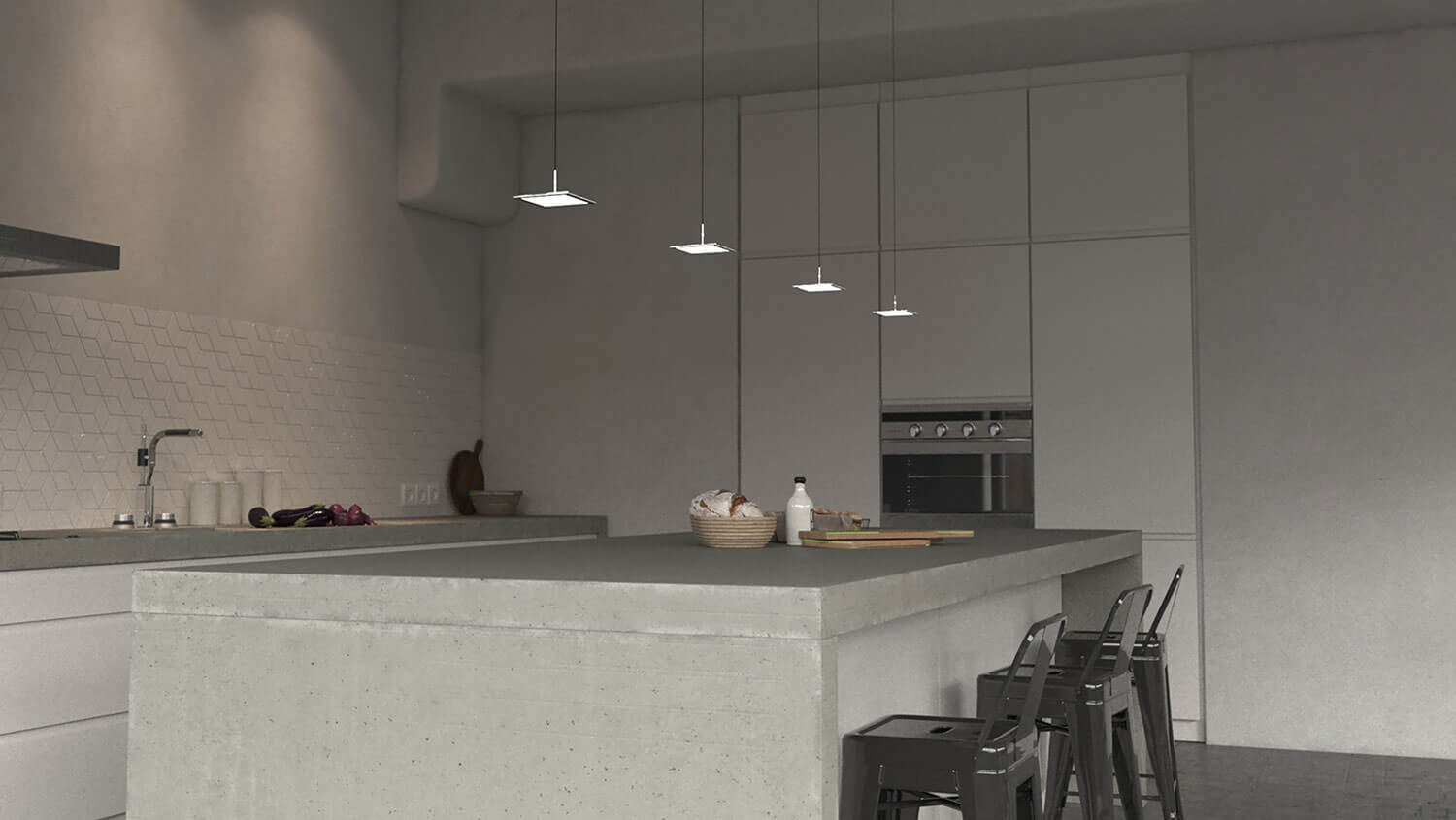 Four OLED fixtures Zhens in kitchen