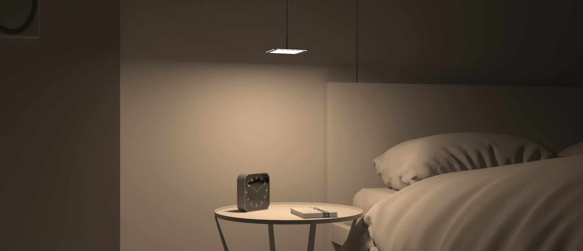 OLED fixture Zhen from Birot Lighting in bedroom
