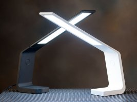 Ascend OLED desk lamp in black and white