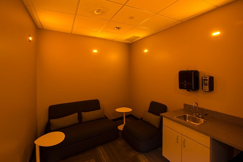 "Brite Amber OLED marker light in the ""Zen/Mother's"" relaxation room of DKB office"
