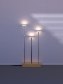 Kumoled OLED floor lamp with three double horizontal OLEDs