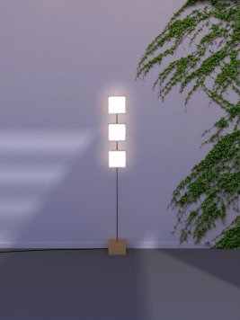 Kumoled OLED floor lamp with three double OLEDs