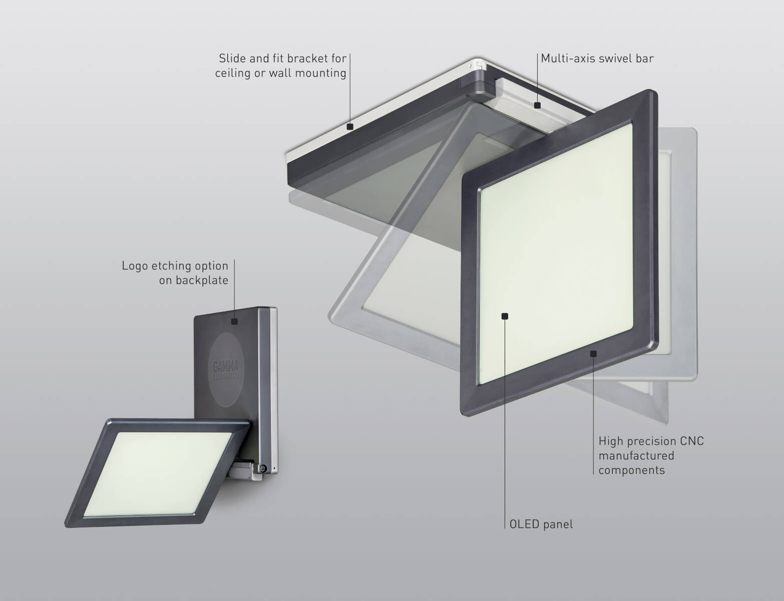 Features of OLED luminaire SquareOne from Gamma Illumination