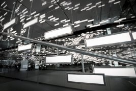 closeup of interactive OLED light and sound installation Light Cloud