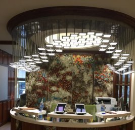 OLED lighting fixture in the reception area of dentist office in NYC