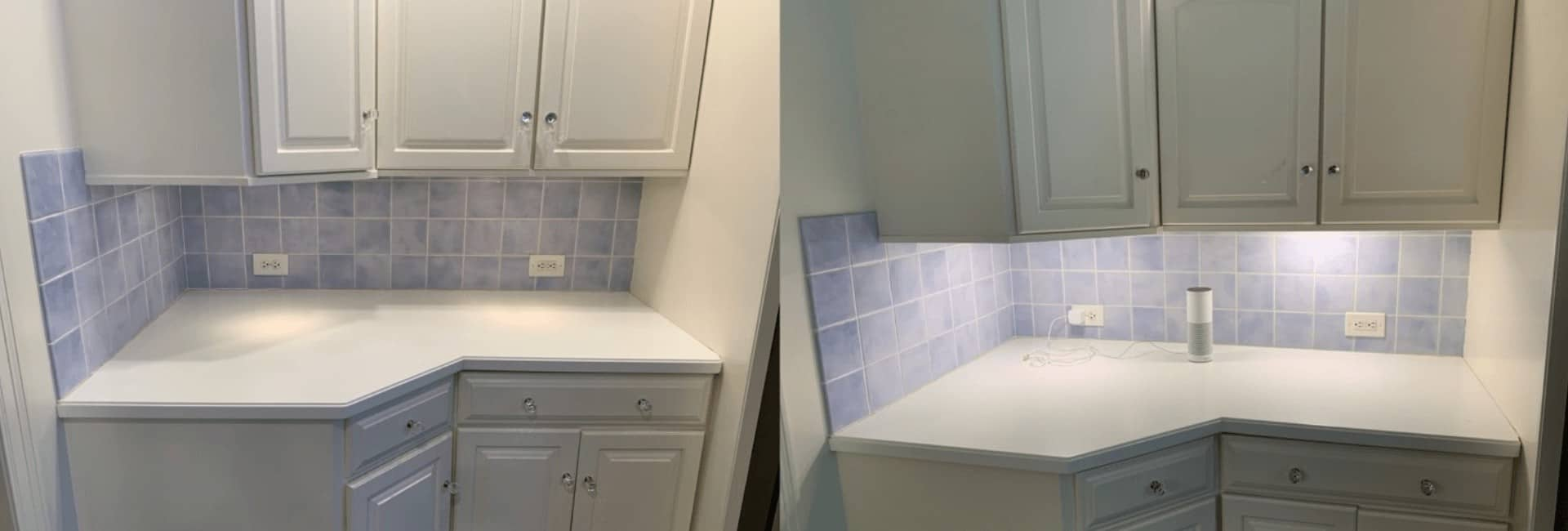 Kitchen Under Cabinet OLED Light Before And After Installation