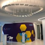 Interactive OLED installation in entrance area at Merck