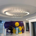 nteractive OLED installation in entrance area at Merck