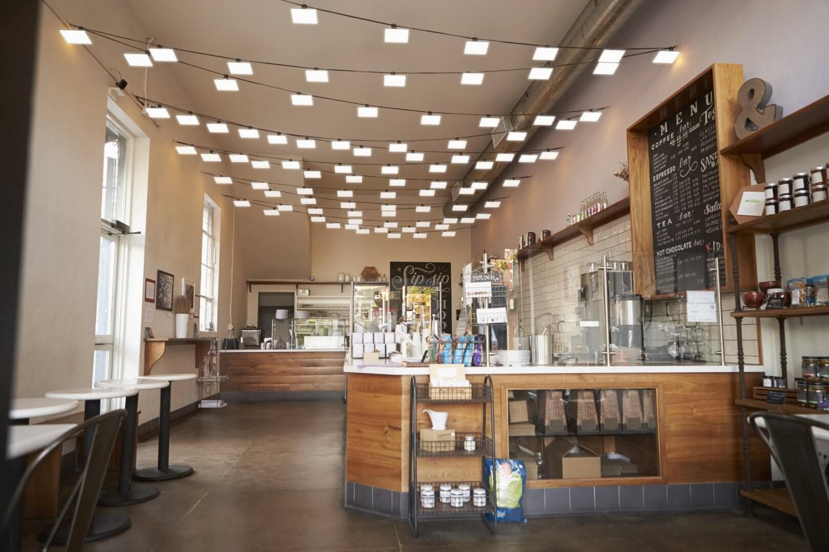 Cafe with OLED lighting panels