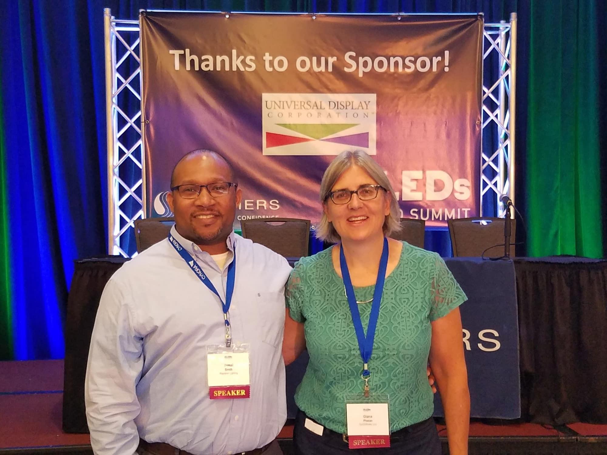 Acuity's Jamal and OLEDWorks' Giana at OLEDs World Summit | OLEDWorks
