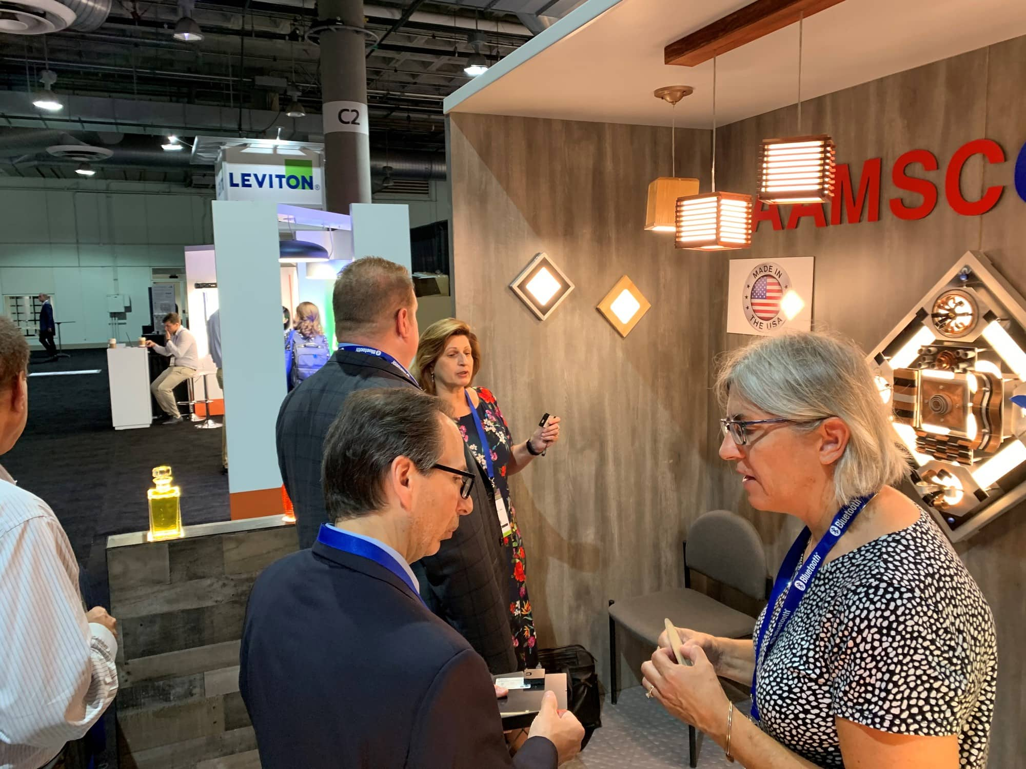 OLEDWorks' Giana talking to Aamsco visitors at LSW 2019 | OLEDWorks