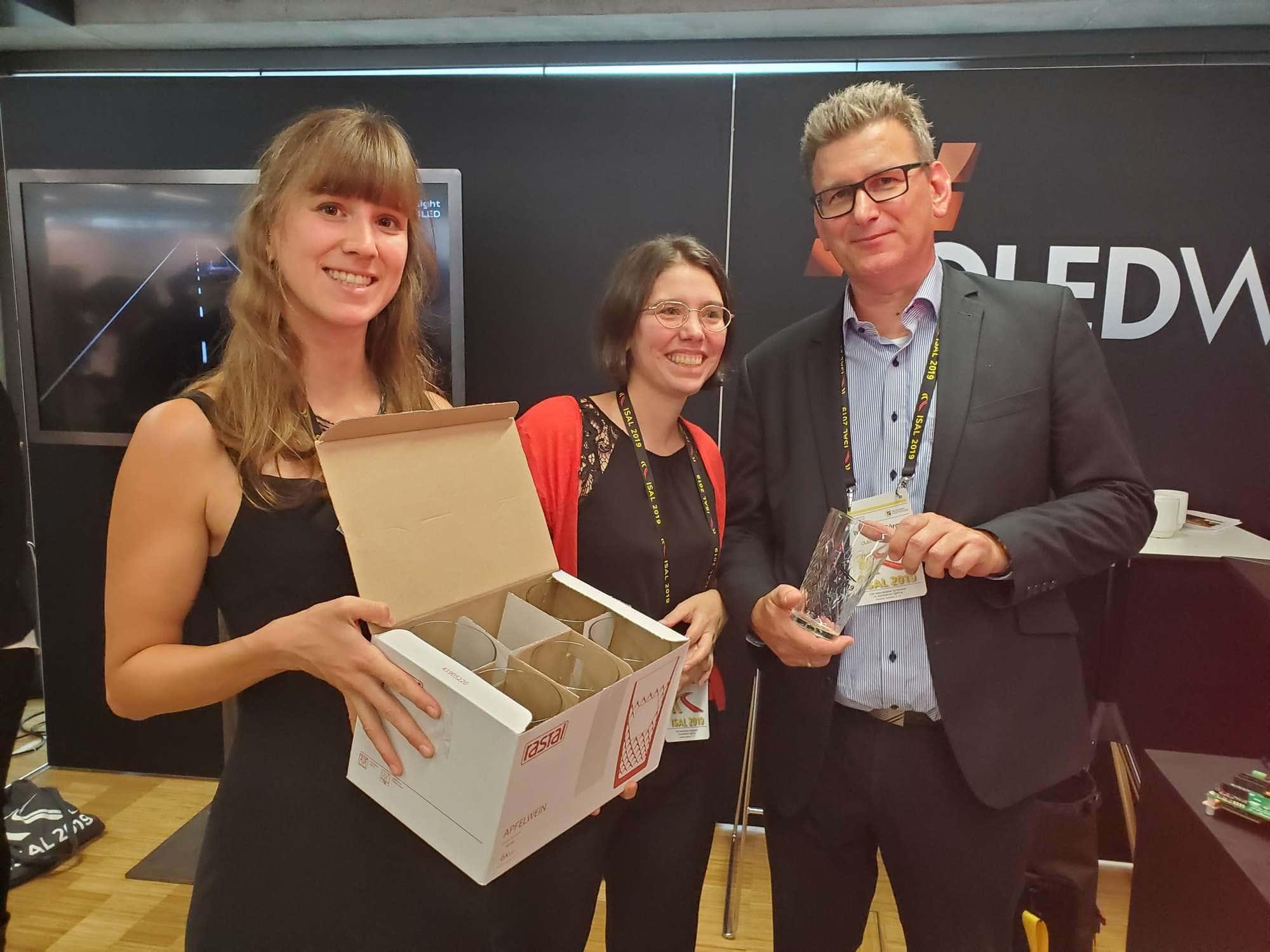 Wolfang Görgen after OLEDWorks wins Best Social Media award at ISAL 2019