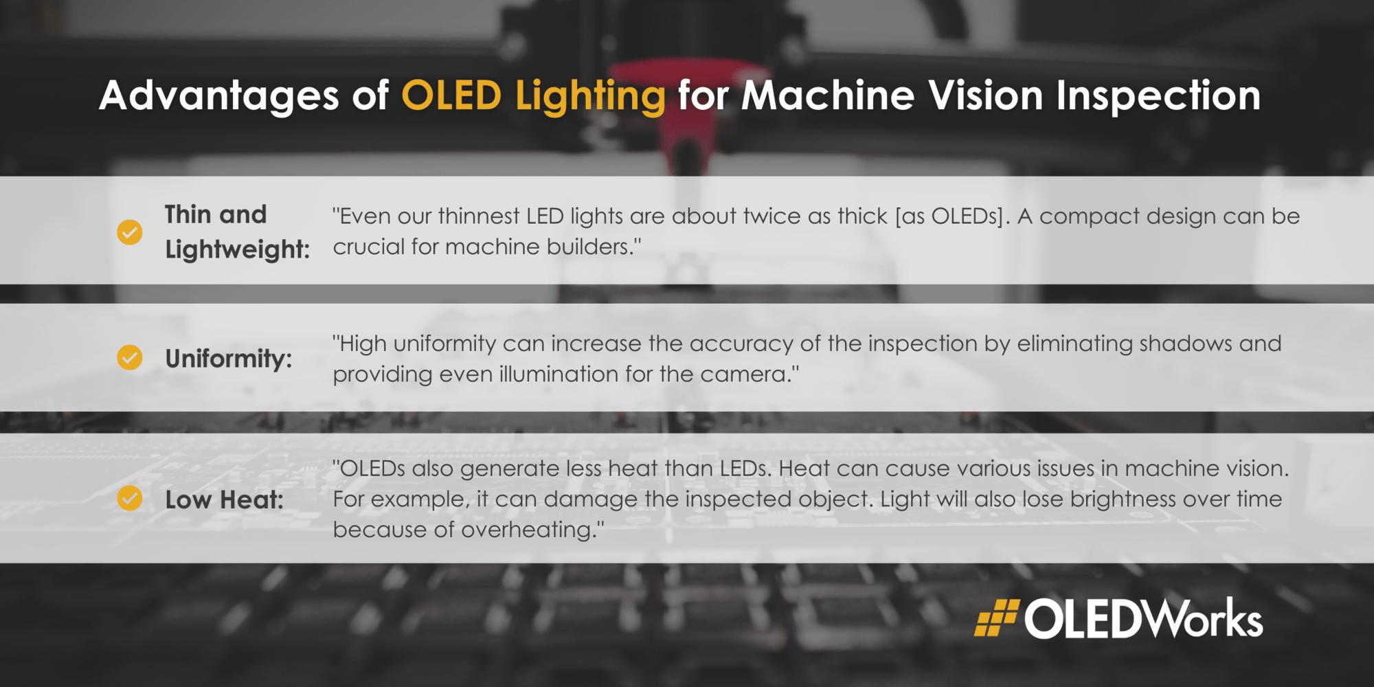 OLED lighting benefits for machine vision